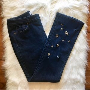LOFT Curvy Bootcut Embellished Jeans